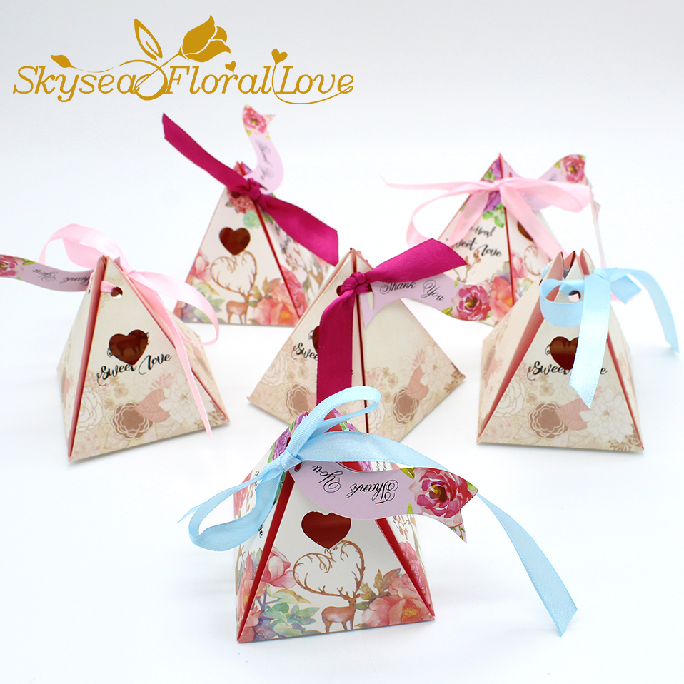 Wedding Candy Box Pyramid Heart Designed Deer Love Package Party Gift In Bags Wring Supplies From Home Garden On