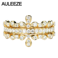 AULEEZE Vintage Elegant 18k Yellow Gold Crown Diamond Rings For Women Round Cut Real Diamond Bands Fine Jewelry