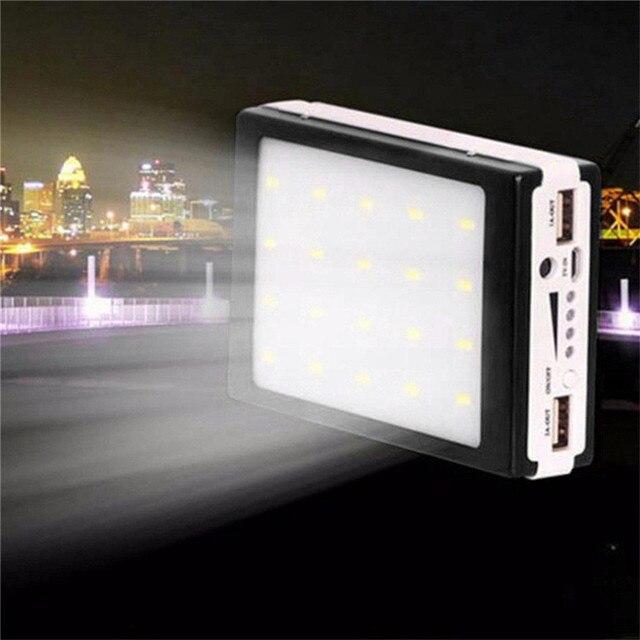 5V 2A Solar LED Portable Dual USB Power Bank 5x18650 External Battery Charger DIY Box 2