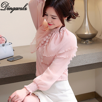 8e10173f5e1 Dingaozlz новая корейская мода оборками кружево Топы корректирующие леди  шифоновая рубашка женская блузка
