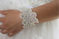 Handmade crystal beaded bridal bracelet, rhinestone wedding bracelet, flower shape style Bracelets, Cuff