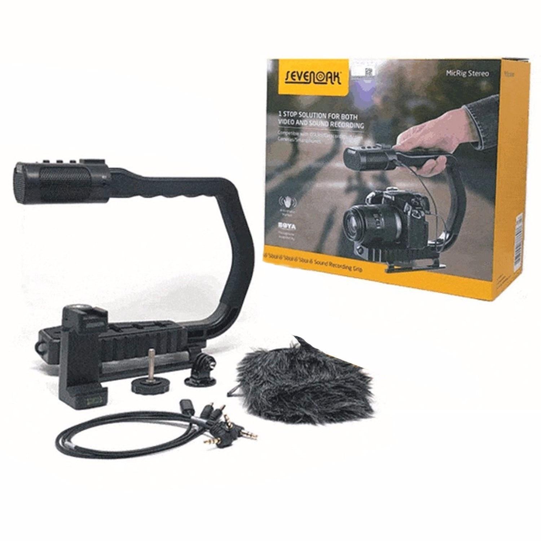 Sevenoak poignée MicRig poignée Microphone stéréo intégré pour Microphone iPhone pour Canon Nikon Lumix Sony DJI Osmo appareil photo reflex numérique