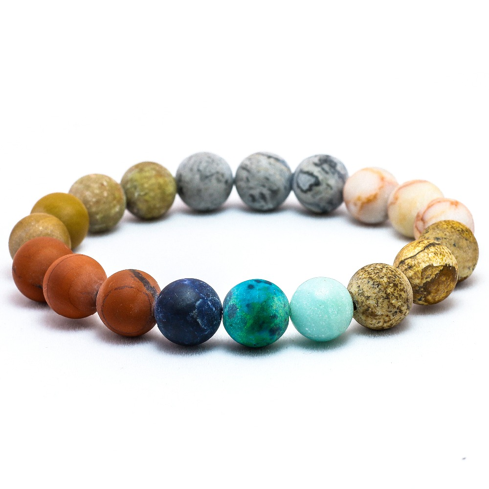 Universe Premium Space Planets Solar System Natural Stone Beads Bracelet 2