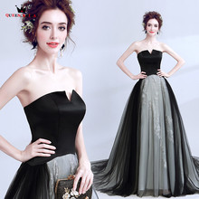 QUEEN BRIDAL Evening Dresses Ball Gown Strapless Fluffy Tulle Black Eveving Gown Prom 2018 New Party Dress Vestido De Festa LS48(China)