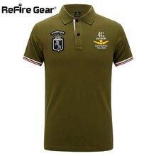 Refire gear ВВС Военная рубашка поло для мужчин пилот Вышивка Армии тактические рубашки летние дышащие с коротким рукавом хлопок поло