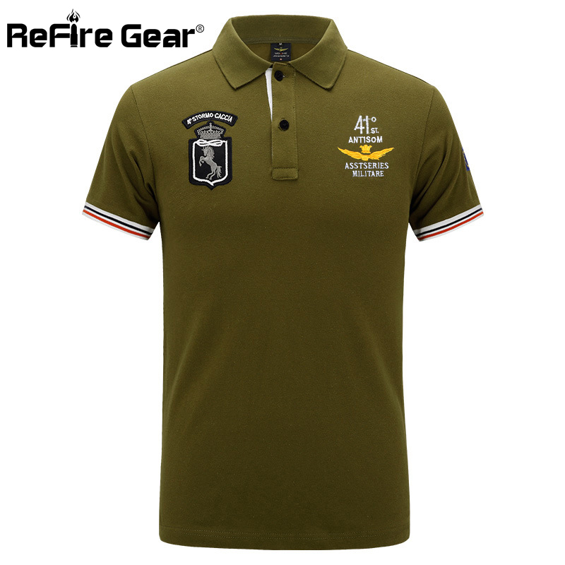 ReFire Gear Air Force Military   Polo   Shirt Men Pilot Embroidery Army Tactical Shirts Summer Breathable Short Sleeve Cotton   Polo