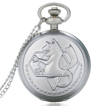 Fullmetal Alchemist Pendant Pocket Watch Edward Elric Cartoon Anime Cosplay Necklace Black/Silver/Bronze Men Women Boy Girl Gift
