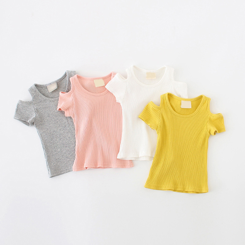 0- 4 Years Baby Girl Ribbon Short Sleeve T Shirts Leak Shoulder Cotton Cute Price Girl Top Tee Solid Color Infant Girl T-shirt