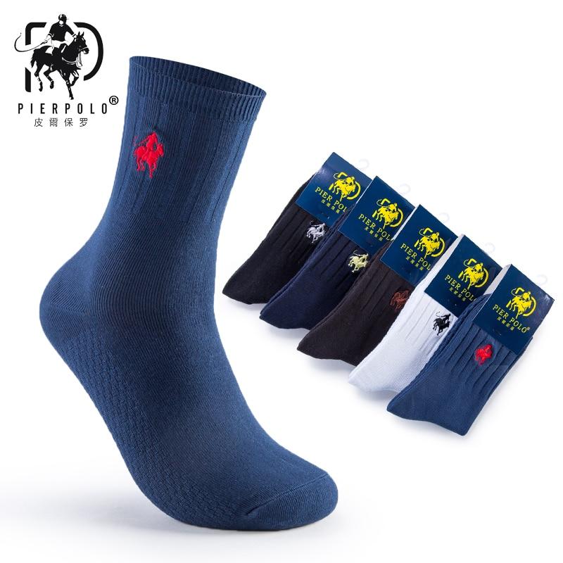 PIER POLO Mens Crew Socks Dress Business Cotton Socks for Men 5pairs/lot(No box)