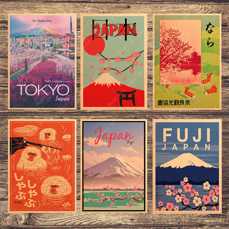Visit Japan Tokyo Travel Canvas Paintings Vintage Wall Pictures Kraft Posters Coated Wall Stickers Home Decoration Gift