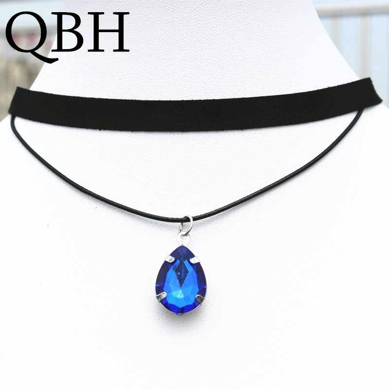 NK901 Gothic Punk Black Velvet Collares Double Layer Water Drop Crystal Pendant Chokers Necklace For Women Jewelry Collares