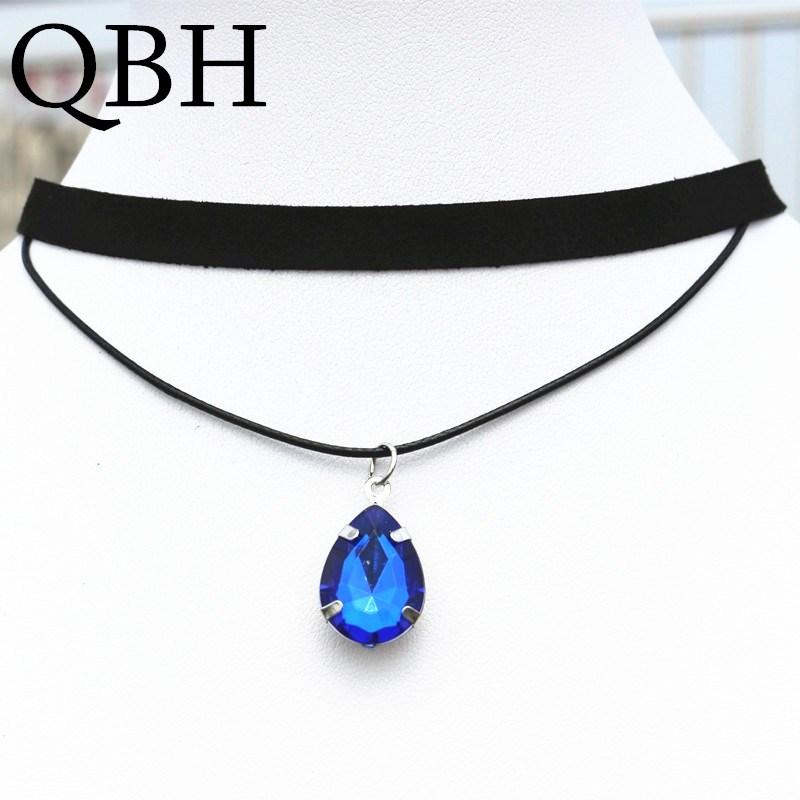 8323744e5 NK901 Gothic Punk Black Velvet Collares Double Layer Water Drop Crystal  Pendant Chokers Necklace For Women Jewelry Collares
