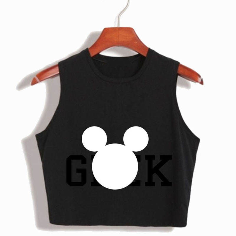 crop tops women 2017 Mouse Head Print crop top 100% Cotton Tank Top sleeveless cropped sexy 90s Black White top crop tshirt