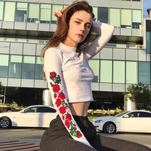 DoreenBow New Fashion Woman Sexy Rose Flower Embroidery T Shirt Female Autumn Short Print Top Tees Long Sleeve White