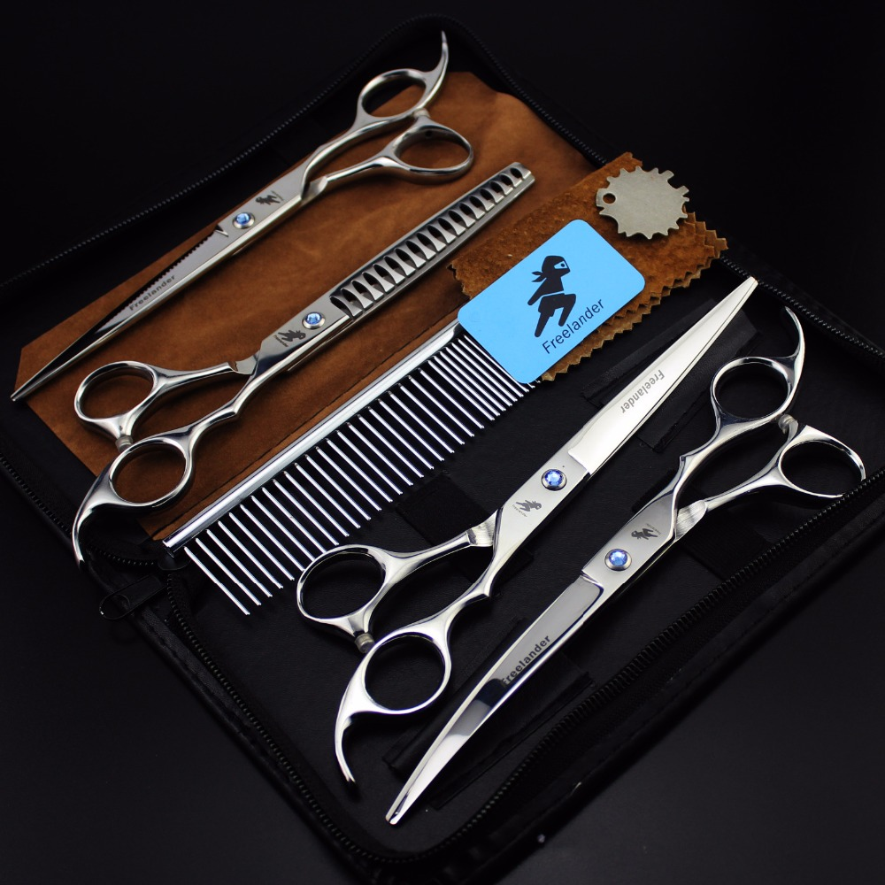 Pet scissors set straight scissors and curved scissors thinning Hair cutting hairdressing 7 inch professional pet grooming set 4