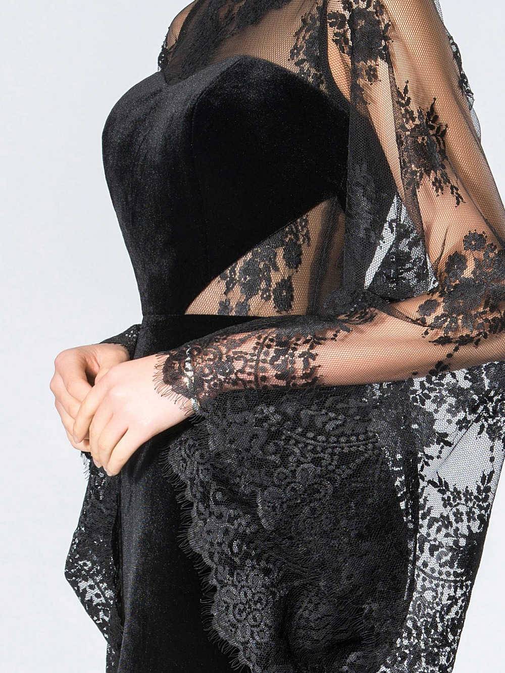 Dressv Vintage čipke muslimanske večernje haljine plašt O-vrat - Haljina za posebne prigode - Foto 5