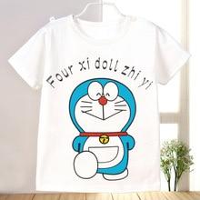 Cartoon Children Vaikai T Shirts Blue Doraemon White Clothes T-Shirt For Girls Boys Cotton Short Sleeve Balta Tee Shirt New 2016