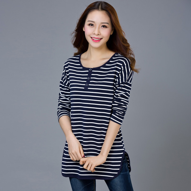 L14F4046 973#2016 large size women spring cotton shirt female striped long sleeved T-shirt girls long loose