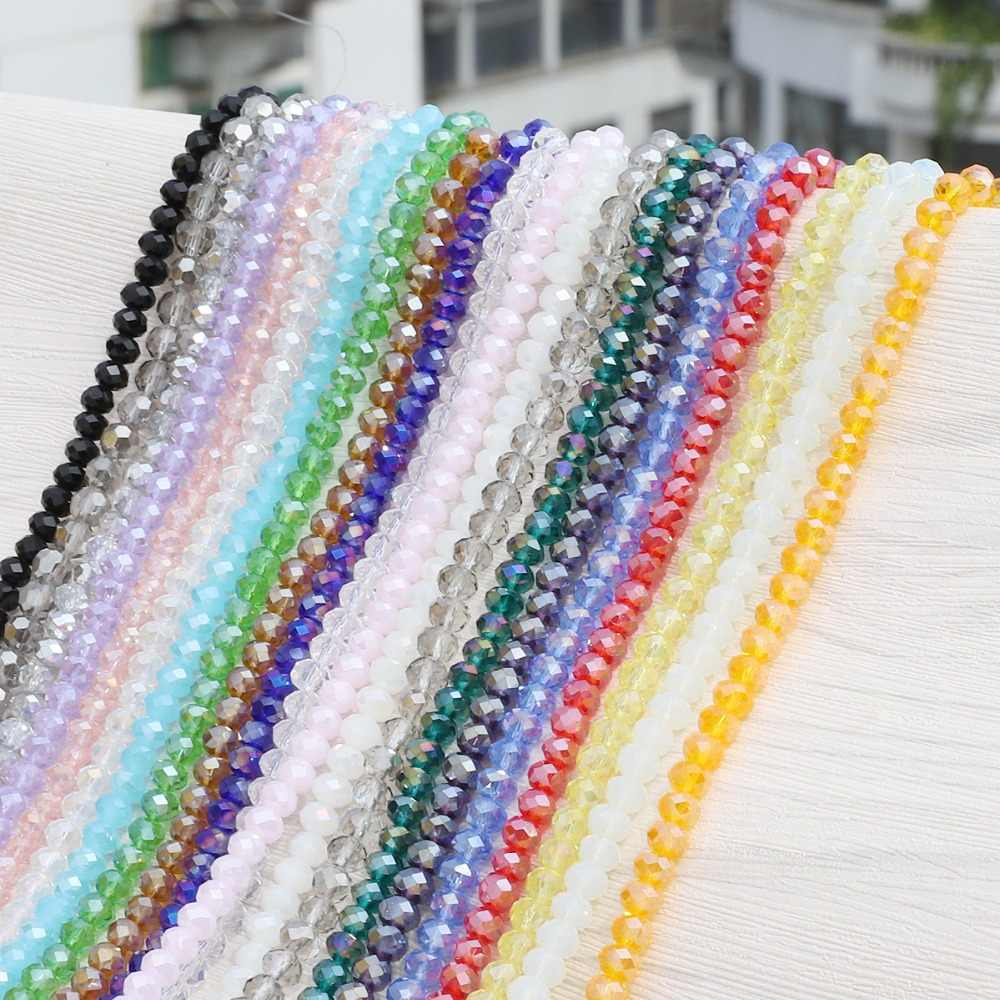 2 Mm 3 Mm 4 Mm 6 Mm 8 Mm Rondelle Austria Crystal Manik-manik Faceted Manik-manik Kaca Longgar Pengatur Jarak Manik-manik untuk Membuat Kerajinan Perhiasan Gelang