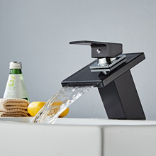 Painting Basin Faucet Bathroom Black Brass Faucet Painting Basin Sink Glass Waterfall Basin Tap Mixer Hot & Cold Water Faucet