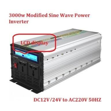 6000 watt Peak power LCD digital display Inverter 3000w dc12v/24v to ac220v Modified Sine Wave Power Inverter plastic car dc12v 24v to ac220v power inverter with usb port black