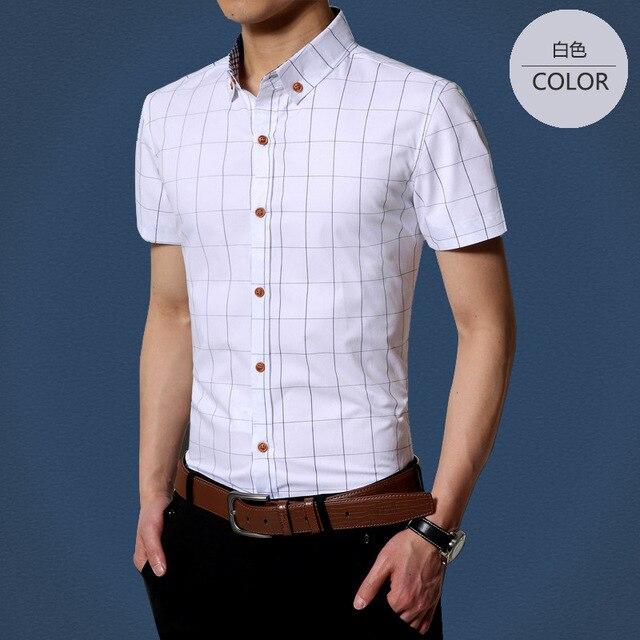 Men's Shirts Hight Quality Man short sleeve black shirt,male cotton mandarin collar solid Men Clothing Size:M-4XL- Free Shipping
