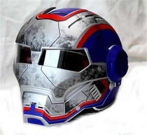 Männer frauen Masei 610 Iron Man Patriot persönlichkeit spezielle motorrad offbeat halb offen gesicht motocross Helm-Blau