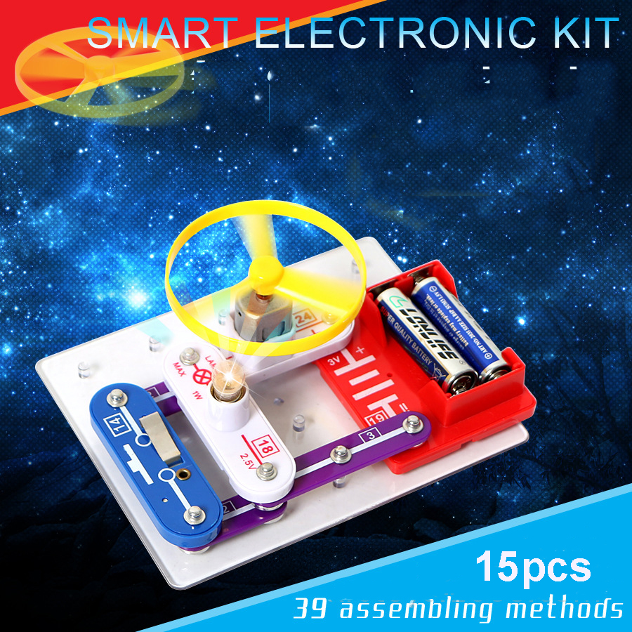 New Toys Smart Electronics Blocks Kit Kids Toys Switch Circuits Electronics Discovery Kit Science Toys For Children W39