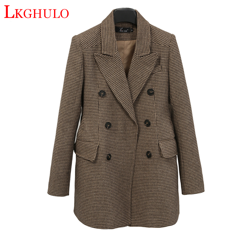 LKGHULO Vintage Anzug Jacke Elegante Formale Casual Mantel frauen Plaid Blazer Geometrische W274