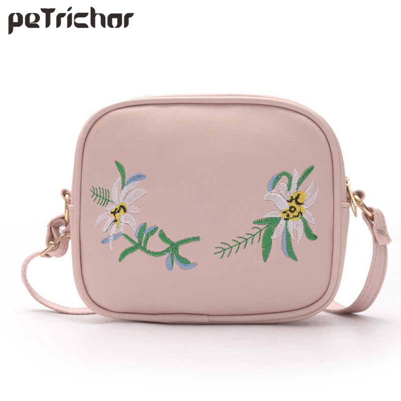 Women Flap Shoulder&Crossbody Bag PU Leather Brand Embroidery Soft Zipper Lady Phone Pocket Lady Floral Bags for Female