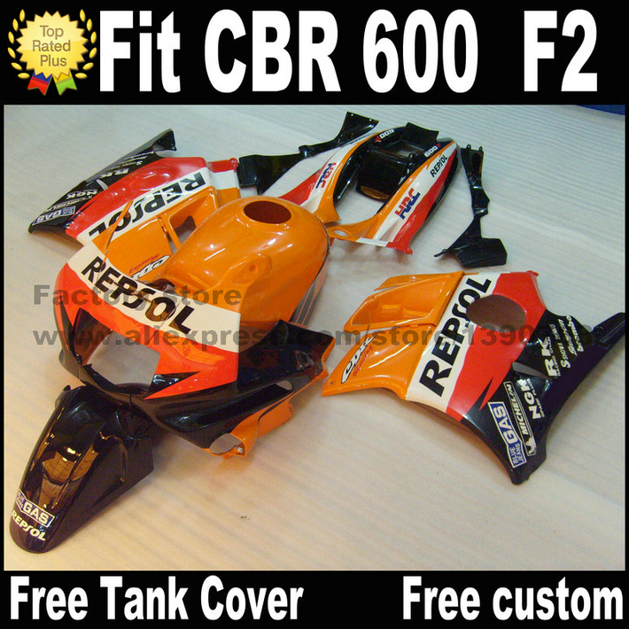 Plastic fit for HONDA CBR 600 F2 fairing kit 1991 1992 1993 1994 fairings orange black REPSOL  CBR600 91 92 93 94 CV26