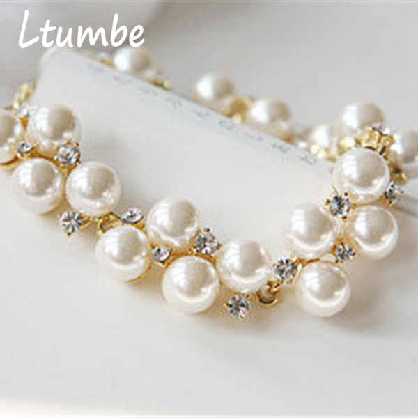 Ltumbe New Arrival Simulated Pearl Bracelets & Bangles Luxurious Crystal Bracelets for Women Party Bridal Wedding Jewelry Bijoux