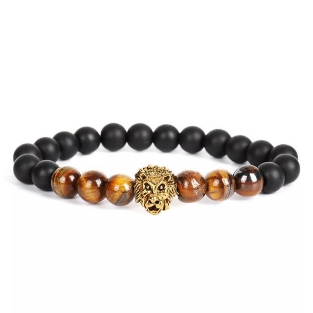 Bracelet pierre naturelle tête de loup 6