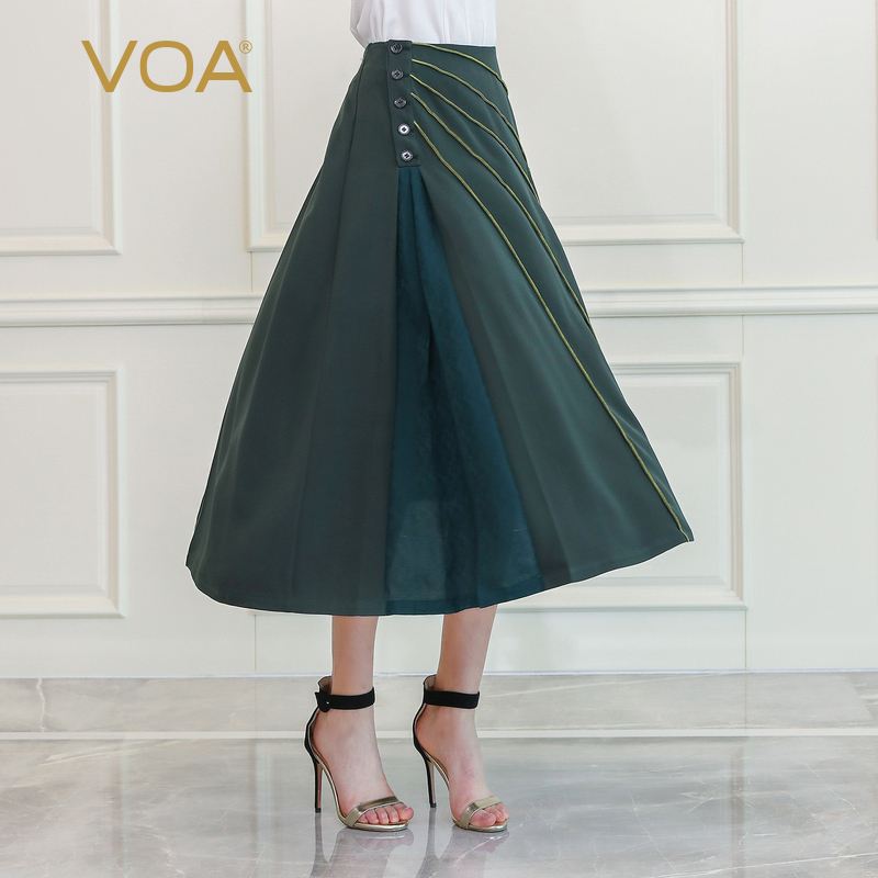 VOA Army Green High Waist Heavy Silk A Line Skirts Women Military Basic Long Skirt Luxury Large Size Cool Girls Clothes C651