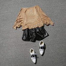 2016 women 2 pieces shorts suits autumn dresses and sequins bat sleeve Pu fashion leather shorts sweater suit DWU4893
