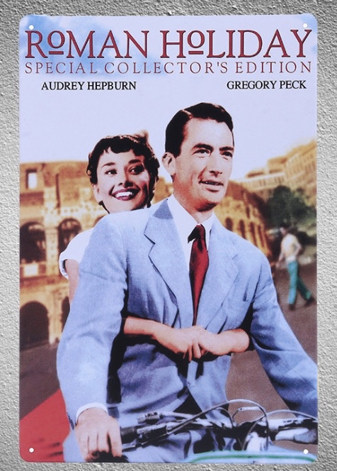 1 piece Roman Holiday classic old love Audrey movie tin Plate Sign wall Room man cave Decoration Art Dropshipping Poster metal in Plaques Signs from Home Garden