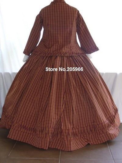 Custom Made 3 peças 1856 s Equipado Vitoriano Guerra Civil Zouave Vestido Dia Chá Vestido de Festa/Holiday Vestido - 3