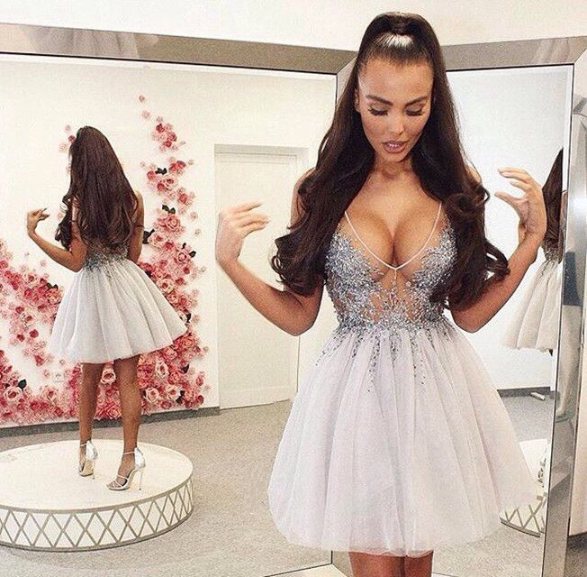 Sexy 2019 Elegant   Cocktail     Dresses   A-line V-neck Short Mini Tulle Lace Beaded Party Plus Size Homecoming   Dresses