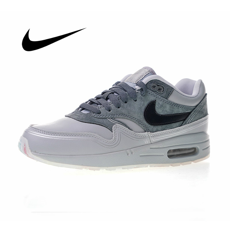 Original Authentic Nike Air Max 1 Pompidou Men's Running Shoes Sport Outdoor Sneakers Shock Absorbing Lightweight AV3735-001