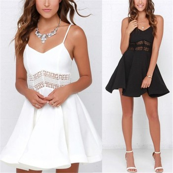 Strap V Neck Crochet Lace Waist Skater Casual Party Mini Short Dresses