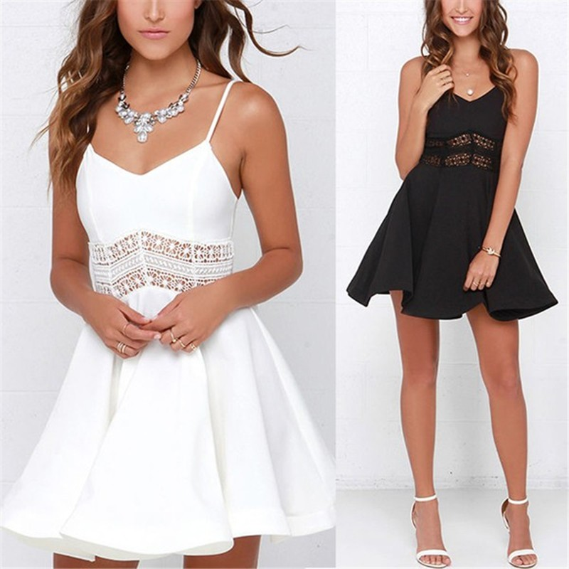 White Black Vestidos 2018 Summer Fashion Women Sexy Strap V Neck Crochet Lace Waist Skater Dress Casual Party Mini Short Dresses