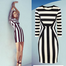Autumn 2014 new women sexy black and white striped dress package hip dresses long sleeve dresses S-XL WL2052
