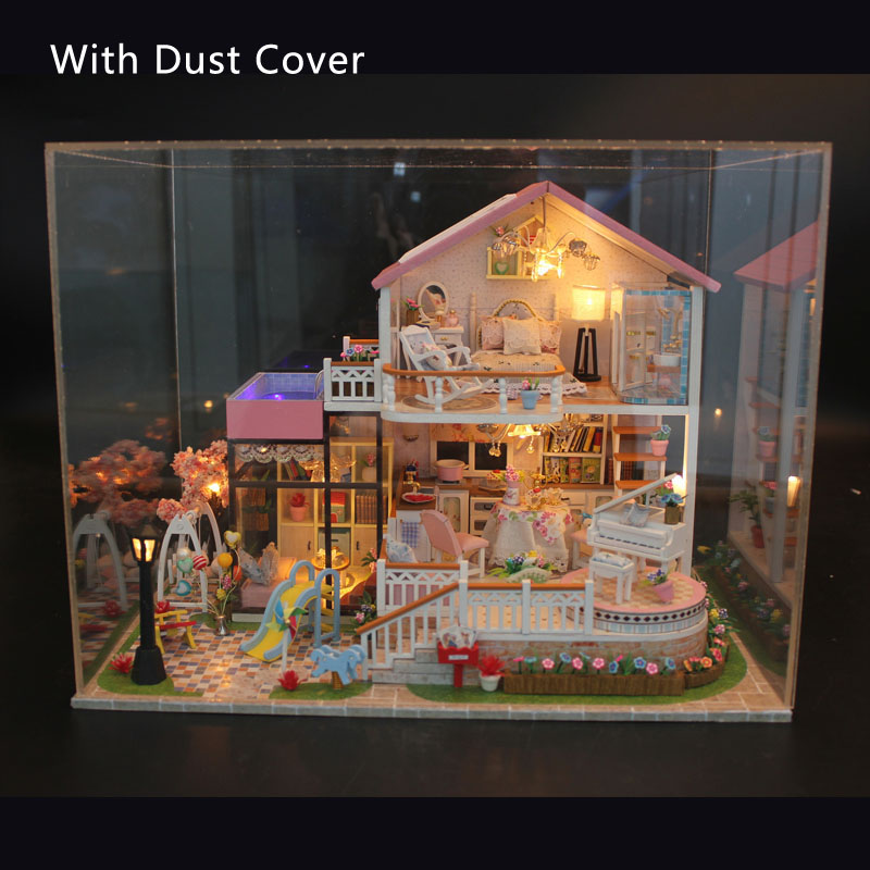 Luxury Sweet Villa Furniture Dollhouse Miniature DIY Kit With LED Lights And Dust Cover Wooden Toy Dolls House Christmas Gift