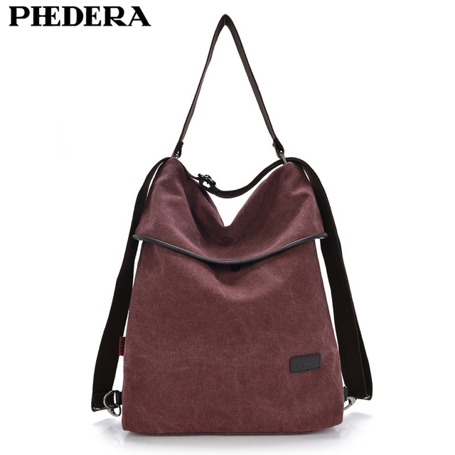 Multifunction Women S Backpack Retro Stylish Quality Washed Canvas High School Rucksack Large Female Shoulder Bags