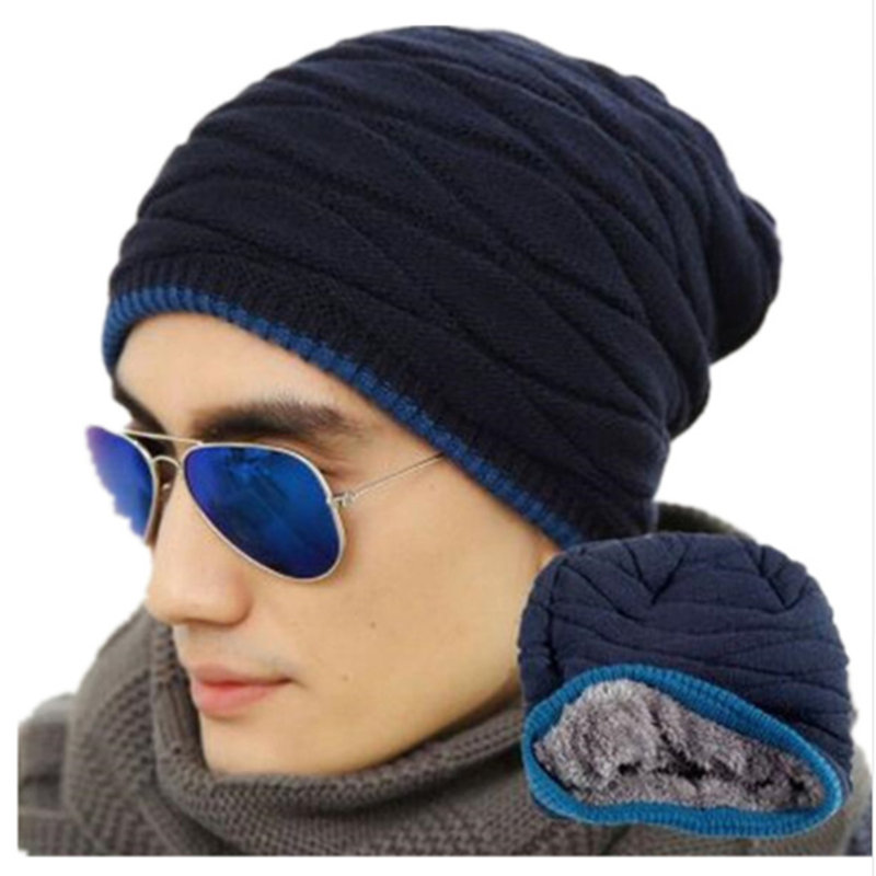 New Winter Hat Men Beanie Sombrero More Add Wool Knitted Cap In The Winter Fashion Warm Ear Hat Head Cap Free Shipping