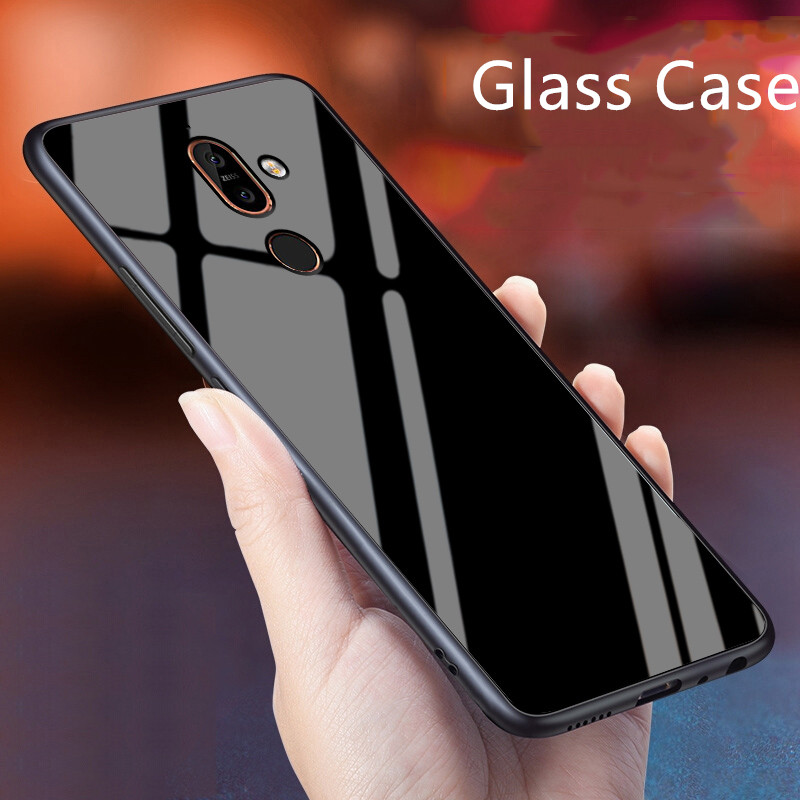 Glass <font><b>Case</b></font> For <font><b>Nokia</b></font> 7 Plus / X7 <font><b>Silicone</b></font> TPU Frame+Glass Black Cover Accessory On <font><b>Nokia</b></font> 7.1 Plus Coque For <font><b>Nokia</b></font> <font><b>8.1</b></font> Fundas image