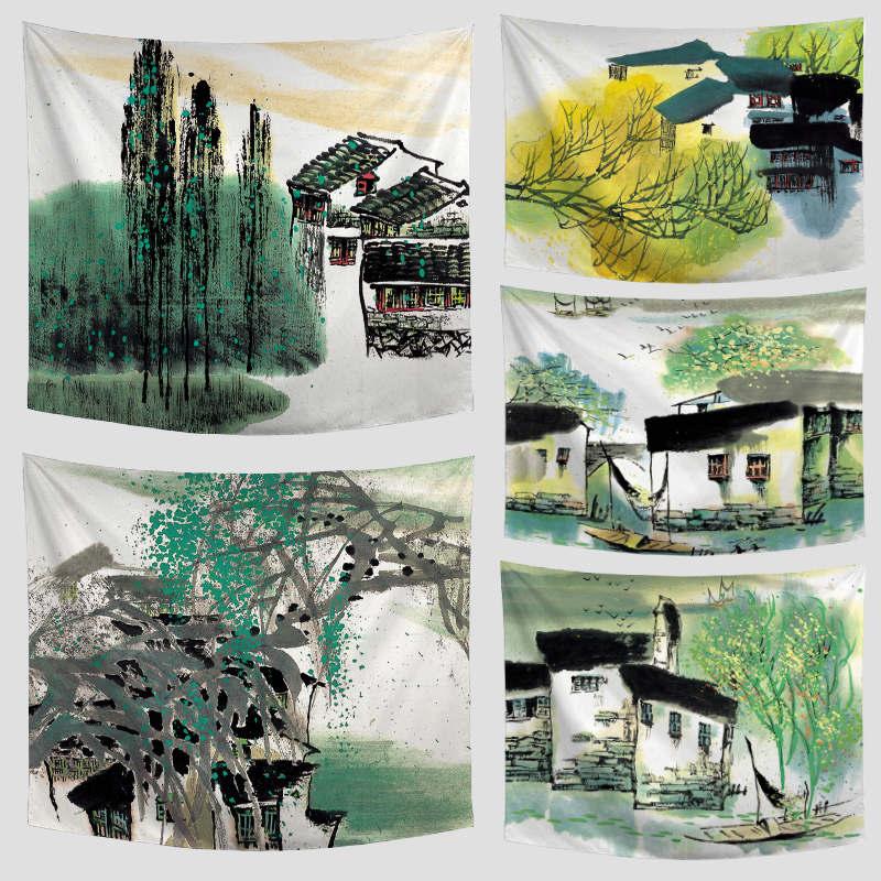 Этно гобелен зеленый полосатый листья цветочный дом диких гусей Полотенца коврик открыты ...