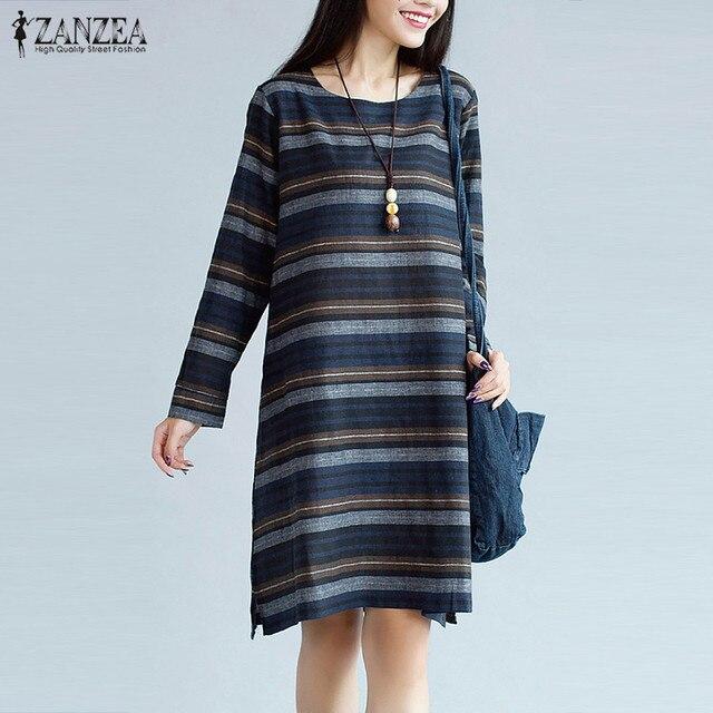 Plus Size 2018 ZANZEA Autumn Striped Print Women O Neck Long Sleeve Casual Midi  Shift Dress Straight Cotton Linen Vestido 8e50915fd