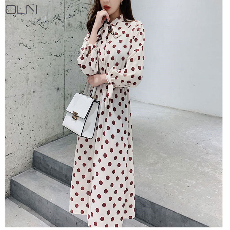 Dresses Careful 2018 Summer New Dress Korean Fashion Temperament Waist Slimming Point V-neck Tie Long Dress Female Various Styles