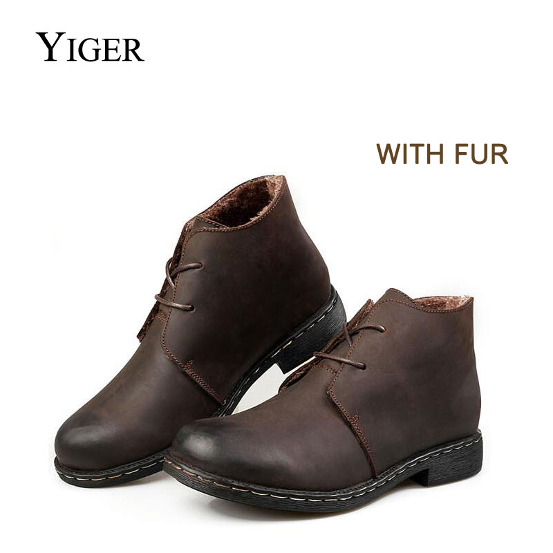 YIGER NEW Men Winter Martin Boots Casual Genuine Leather Lace-up men Boots Autumn/Winter warm out door shoes 0021 mulinsen latest lifestyle 2017 autumn winter men